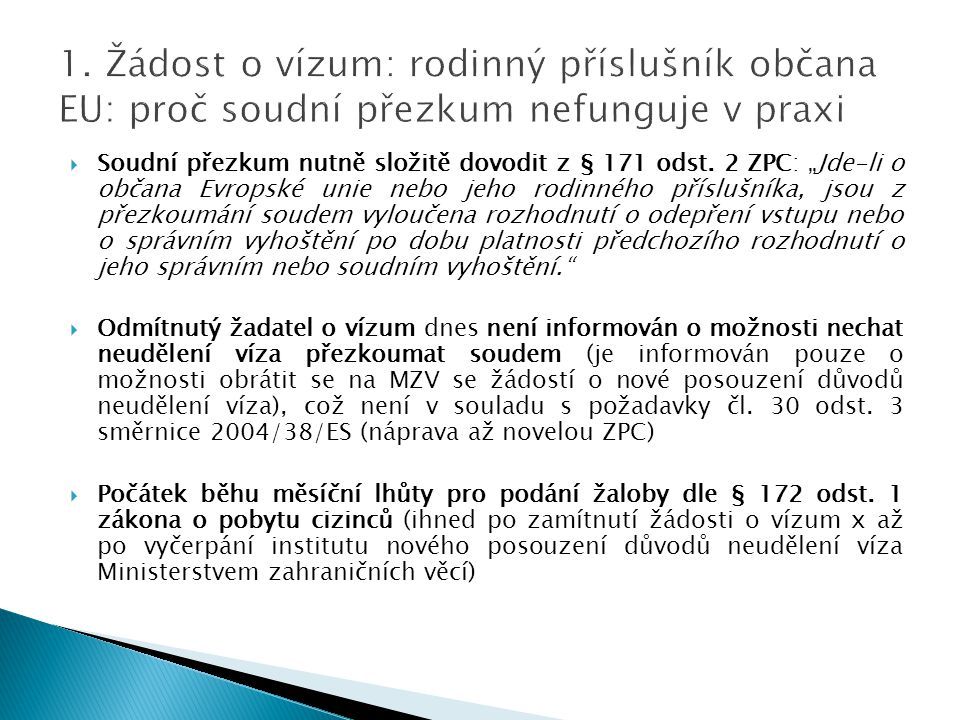 1. Žádost o vízum: rodinný příslušník občana EU: proč soudní přezkum nefunguje v praxi