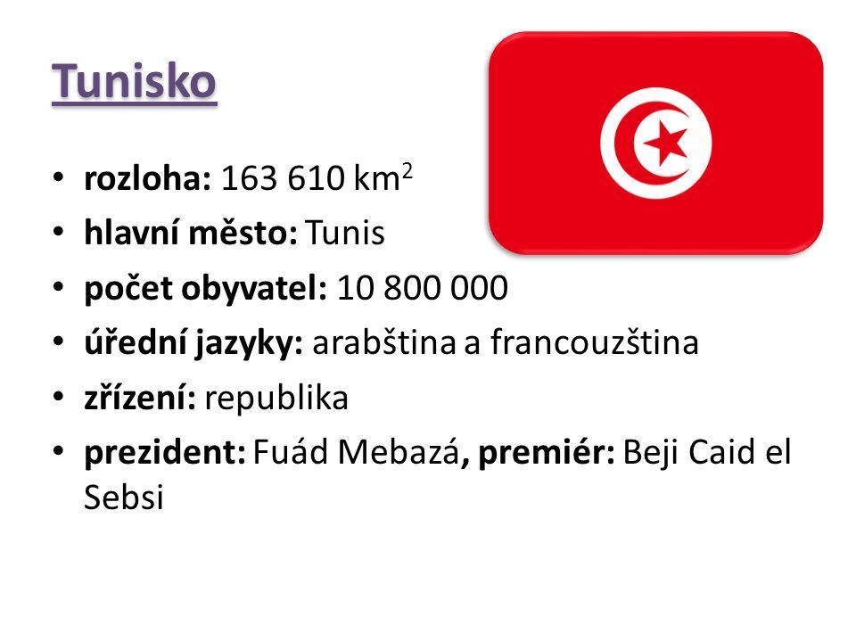 Tunisko rozloha: 163 610 km2 hlavní město: Tunis