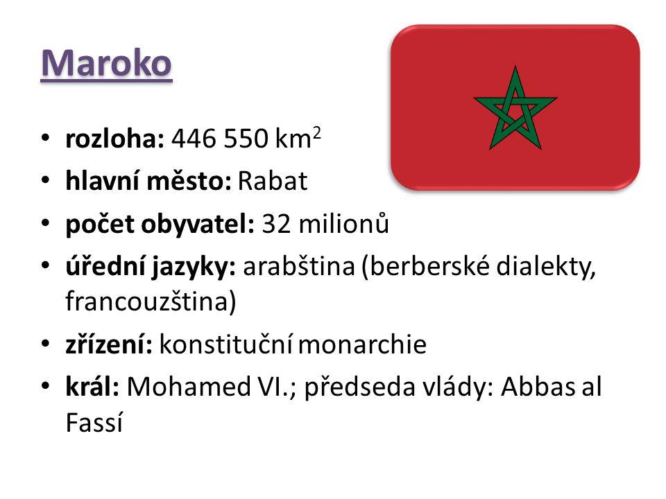 Maroko rozloha: 446 550 km2 hlavní město: Rabat