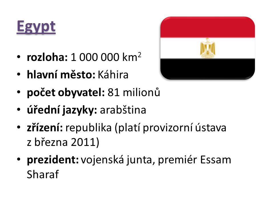 Egypt rozloha: 1 000 000 km2 hlavní město: Káhira