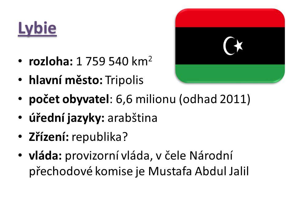 Lybie rozloha: 1 759 540 km2 hlavní město: Tripolis