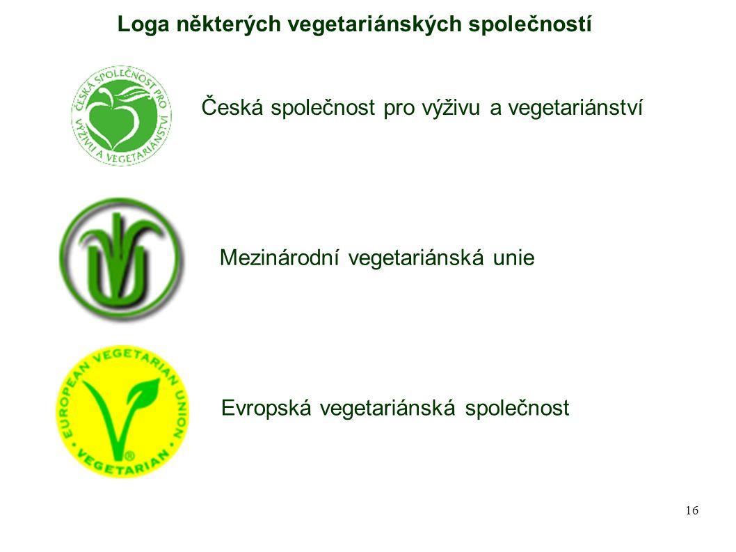 Loga některých vegetariánských společností