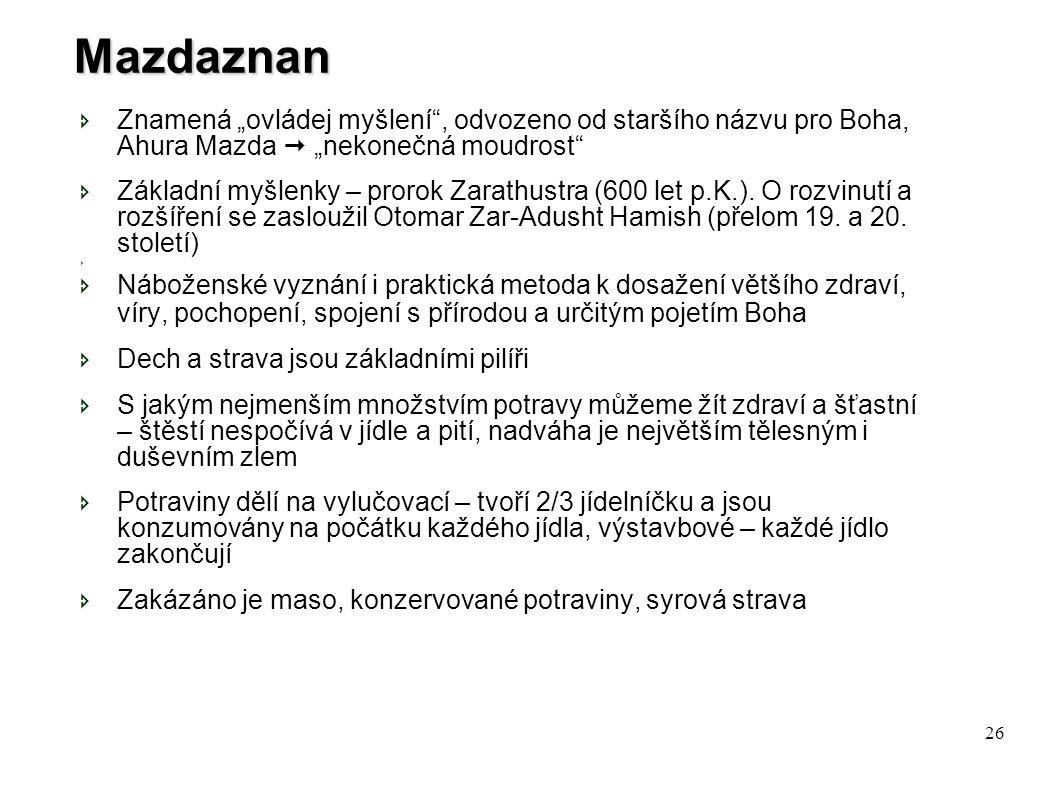"""Mazdaznan Znamená """"ovládej myšlení , odvozeno od staršího názvu pro Boha, Ahura Mazda  """"nekonečná moudrost"""
