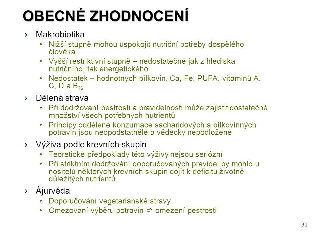 OBECNÉ ZHODNOCENÍ Makrobiotika Dělená strava