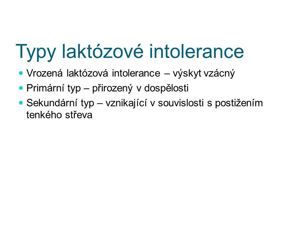 Typy laktózové intolerance