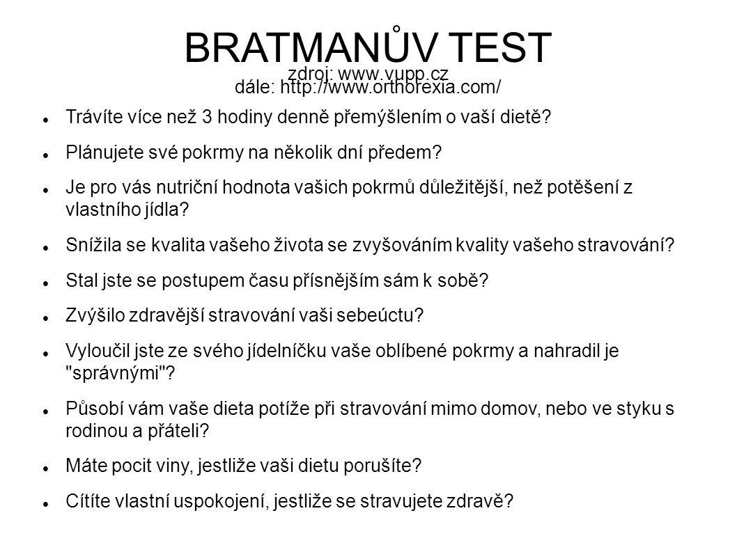 BRATMANŮV TEST zdroj: www.vupp.cz dále: http://www.orthorexia.com/