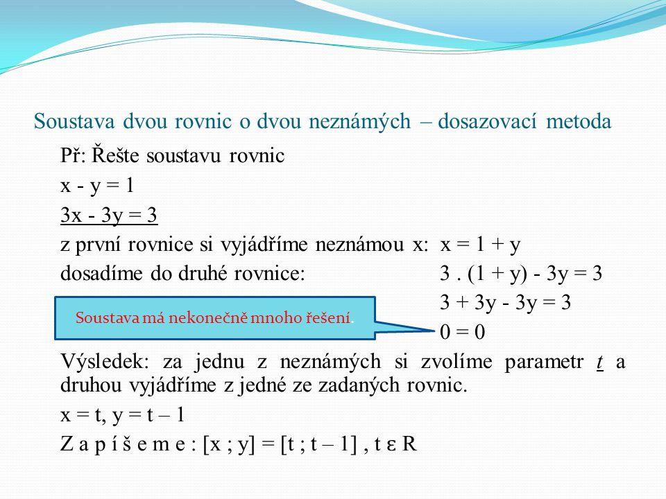 Soustava dvou rovnic o dvou neznámých – dosazovací metoda