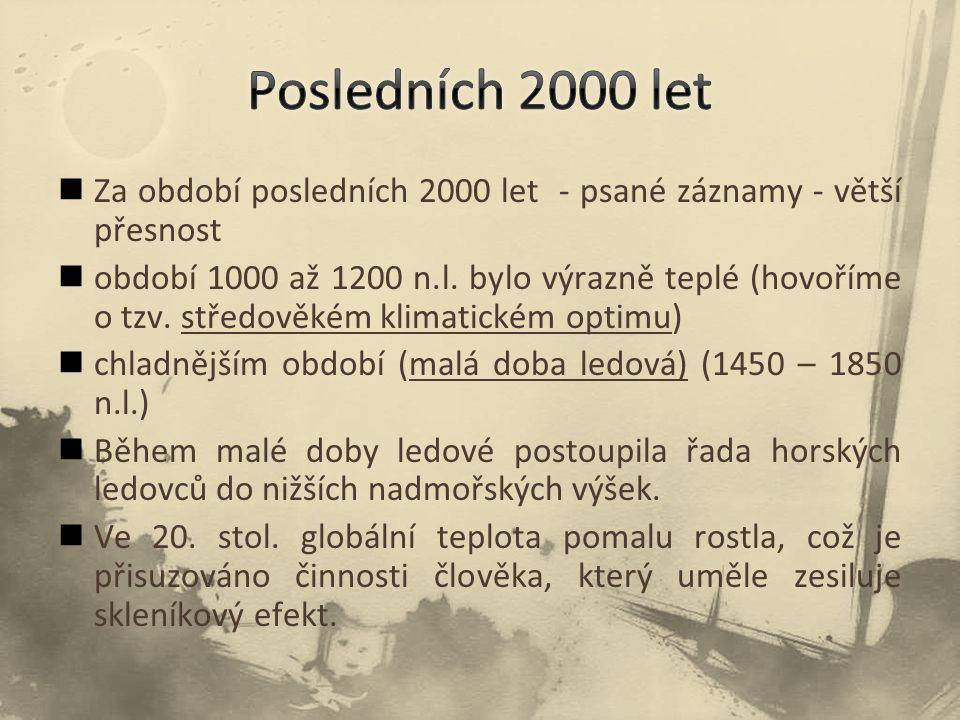 Posledních 2000 let Za období posledních 2000 let - psané záznamy - větší přesnost.