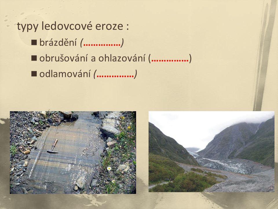 typy ledovcové eroze : brázdění (……………)