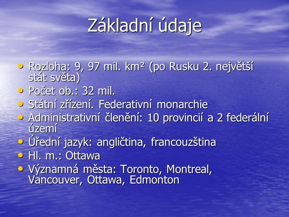 Základní údaje Rozloha: 9, 97 mil. km² (po Rusku 2. největší stát světa) Počet ob.: 32 mil. Státní zřízení. Federativní monarchie.