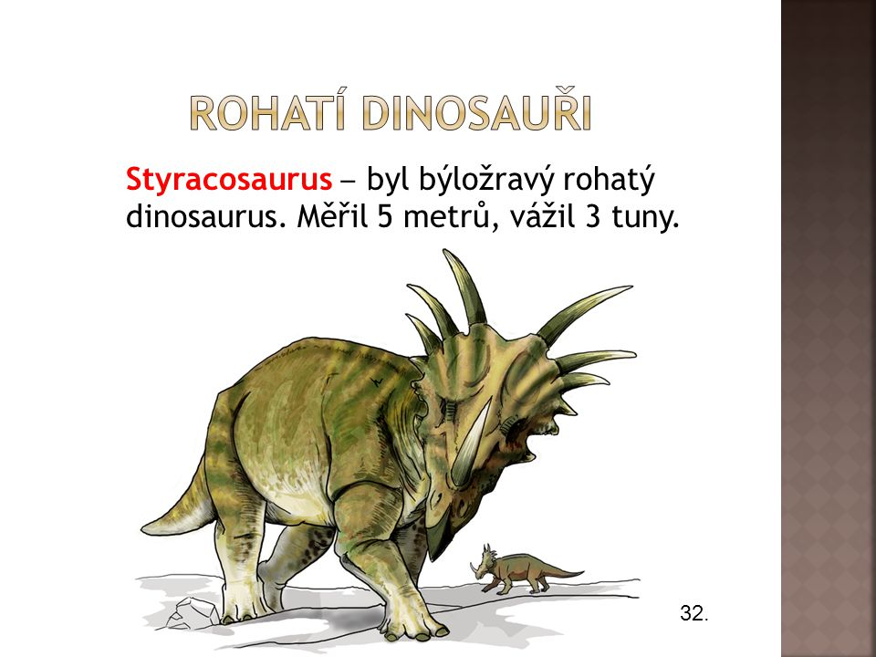 Rohatí dinosauři Styracosaurus ‒ byl býložravý rohatý dinosaurus. Měřil 5 metrů, vážil 3 tuny. 32.