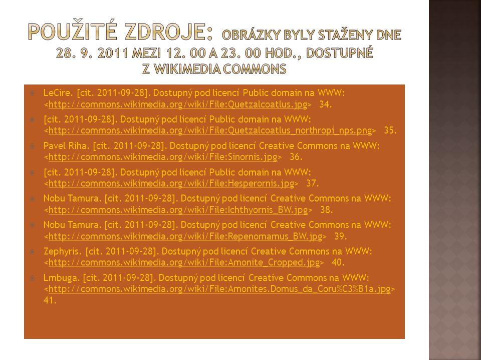 Použité zdroje: Obrázky byly staženy dne 28. 9. 2011 mezi 12. 00 a 23