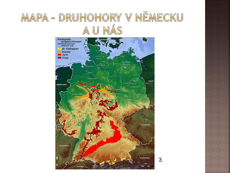 Mapa – druhohory v Německu a u nás