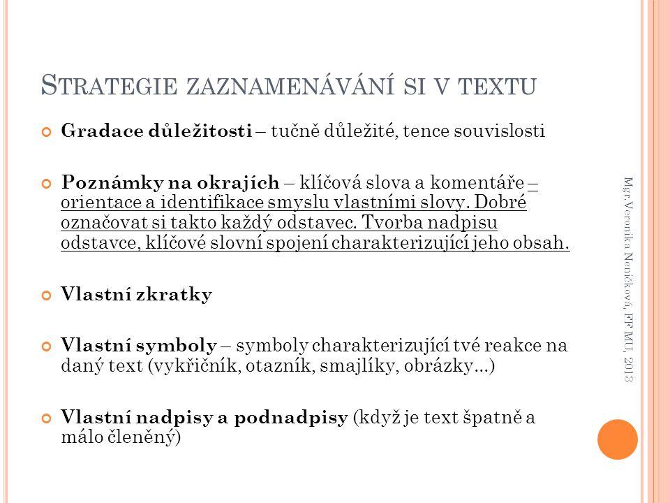 Strategie zaznamenávání si v textu