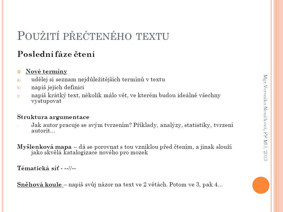 Použití přečteného textu