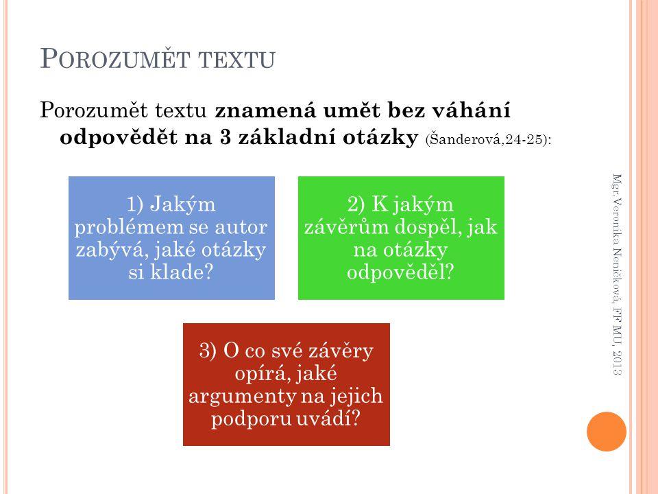 Porozumět textu Porozumět textu znamená umět bez váhání odpovědět na 3 základní otázky (Šanderová,24-25):