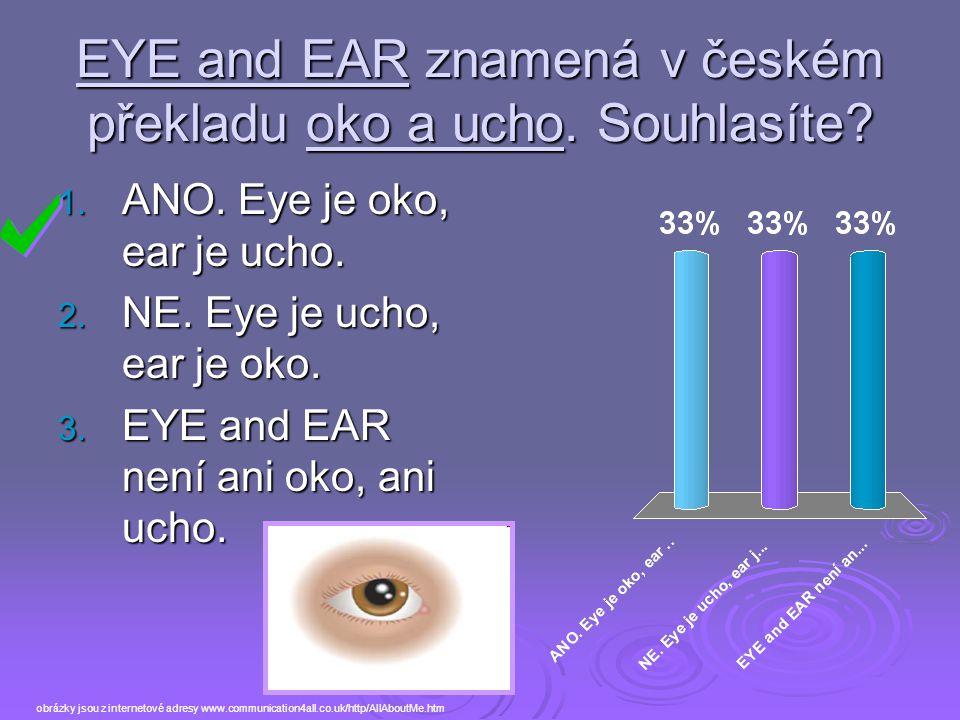 EYE and EAR znamená v českém překladu oko a ucho. Souhlasíte