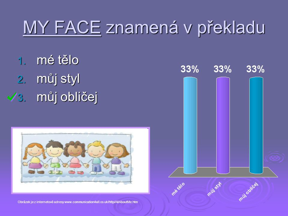 MY FACE znamená v překladu