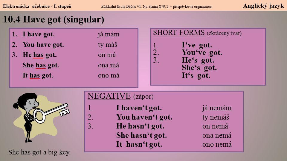10.4 Have got (singular) NEGATIVE (zápor) 2. You've got. 3. He's got.