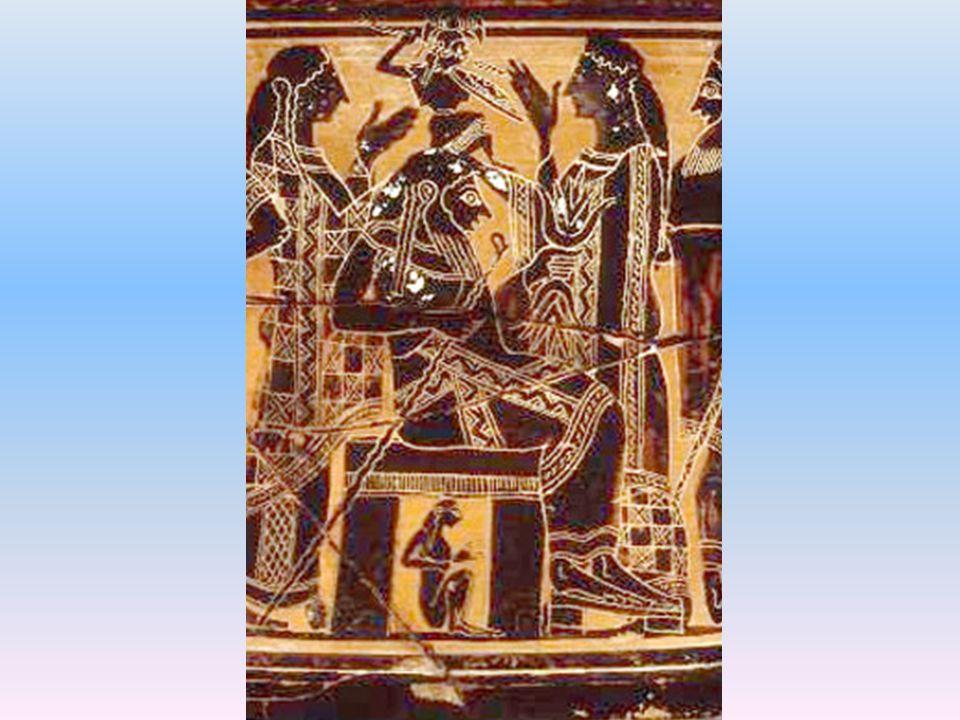 Panenská bohyně Eileithya, dcera Dia a Héry, a Héra asistují při porodu Athény.