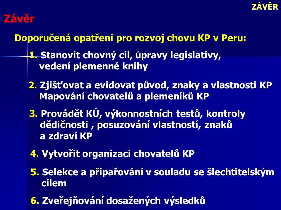 Závěr Doporučená opatření pro rozvoj chovu KP v Peru: