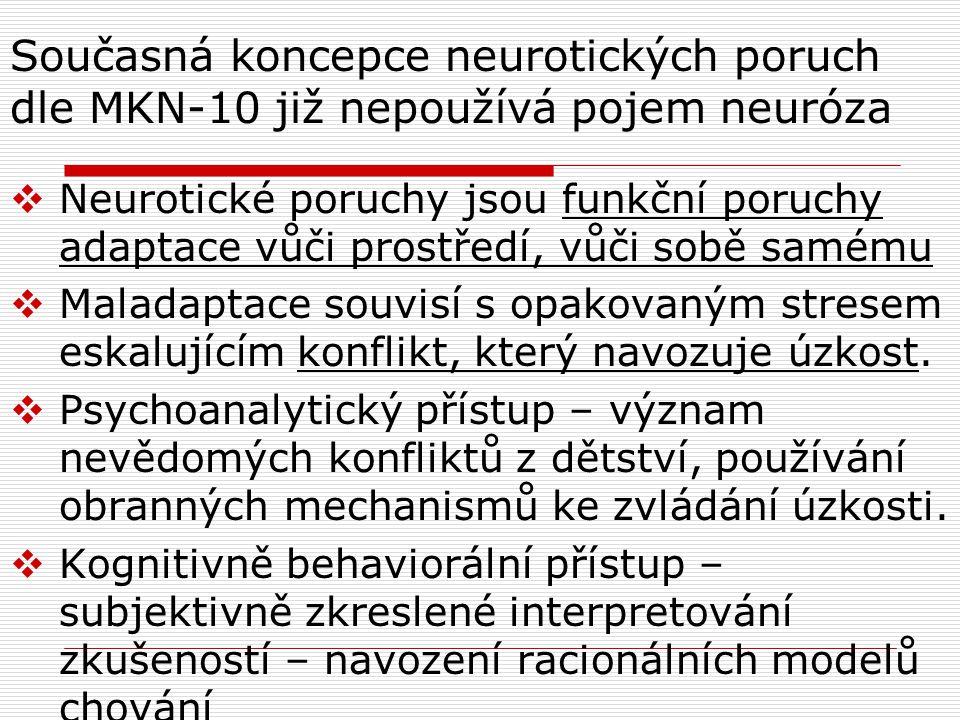 Současná koncepce neurotických poruch dle MKN-10 již nepoužívá pojem neuróza