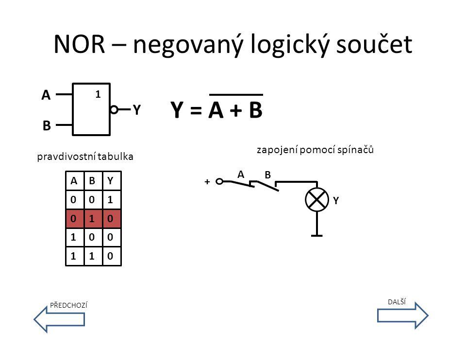 NOR – negovaný logický součet