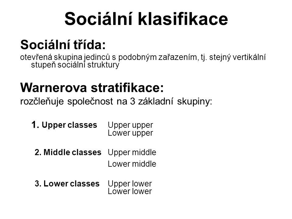 Sociální klasifikace Sociální třída: Warnerova stratifikace: