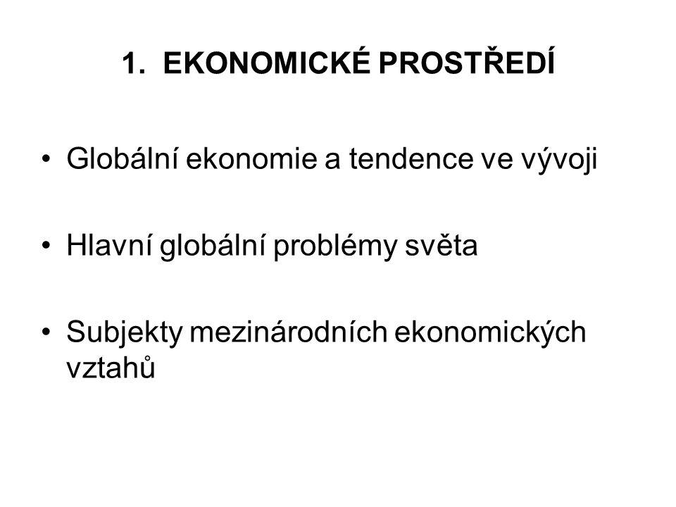 1. EKONOMICKÉ PROSTŘEDÍ Globální ekonomie a tendence ve vývoji.
