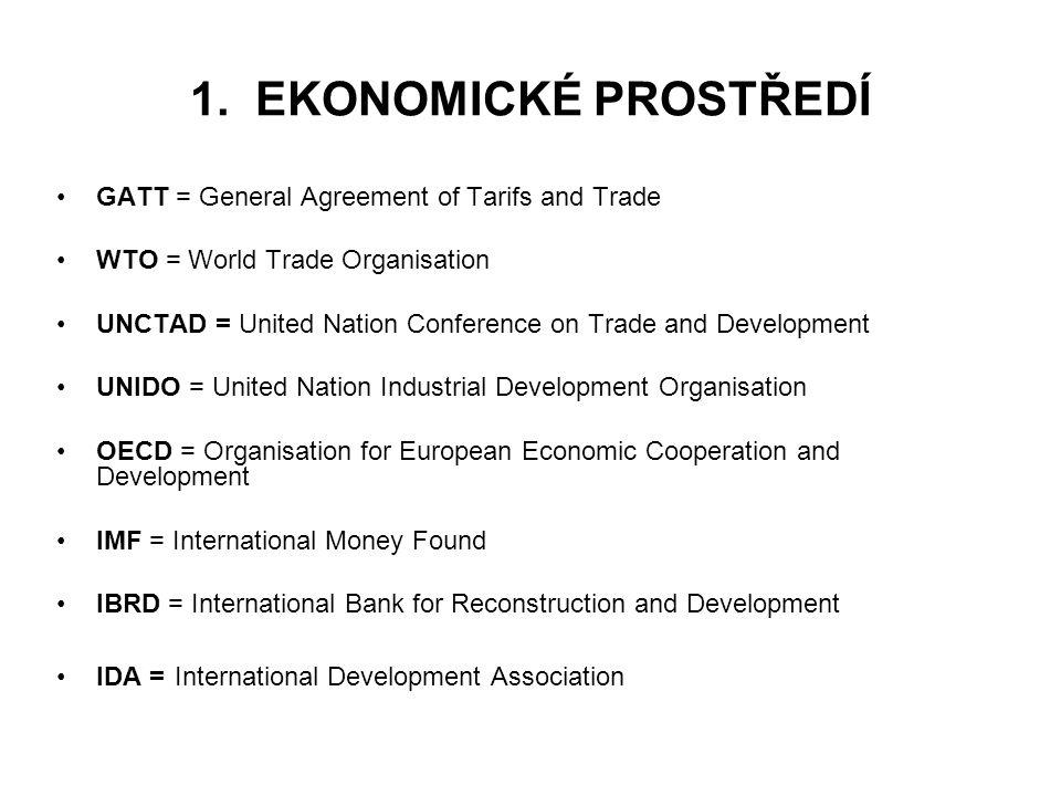 1. EKONOMICKÉ PROSTŘEDÍ GATT = General Agreement of Tarifs and Trade