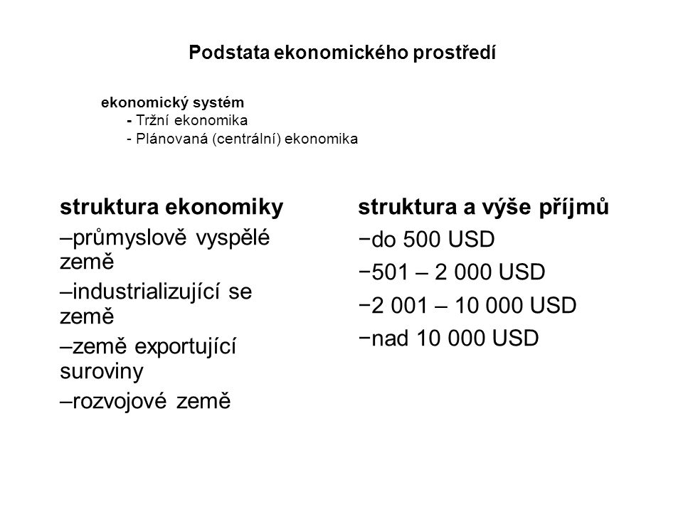 Podstata ekonomického prostředí