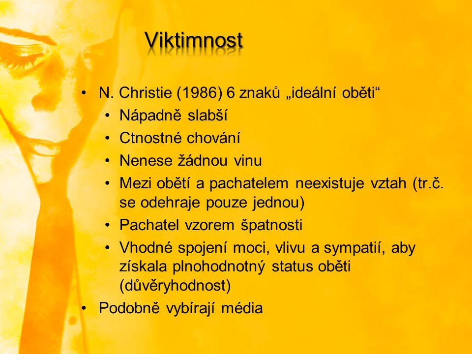 """Viktimnost N. Christie (1986) 6 znaků """"ideální oběti Nápadně slabší"""