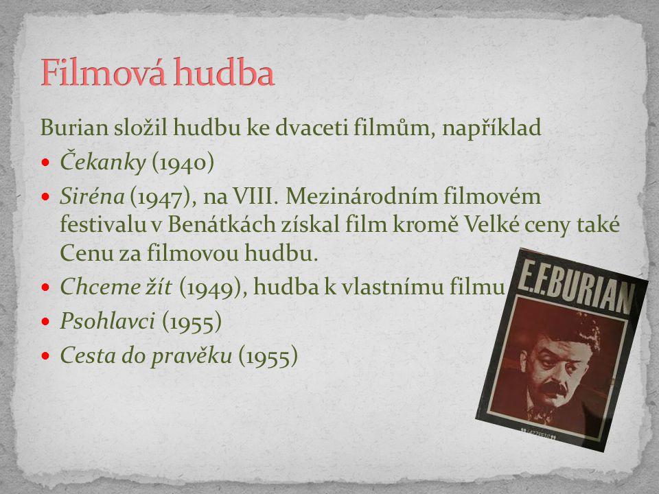 Filmová hudba Burian složil hudbu ke dvaceti filmům, například