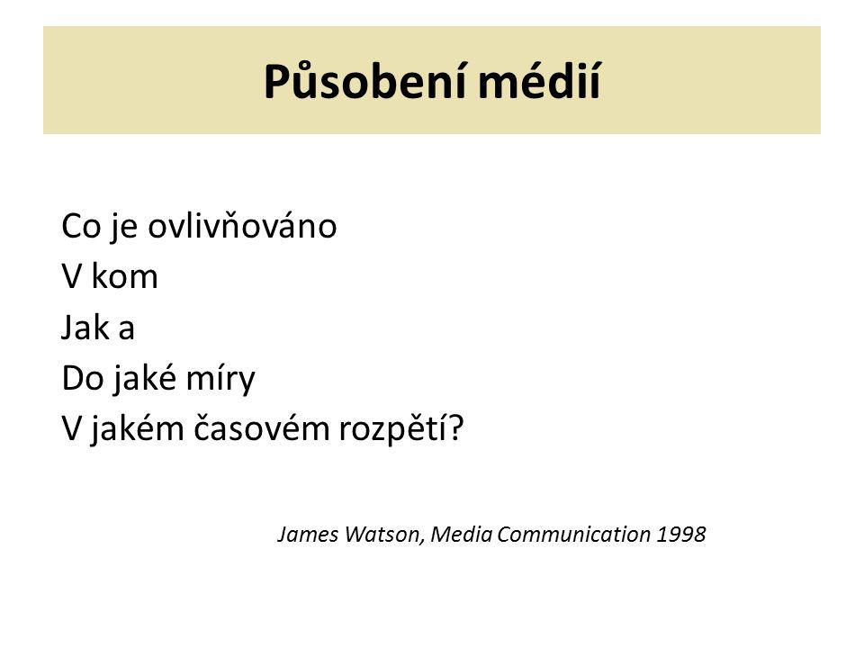 Působení médií Co je ovlivňováno V kom Jak a Do jaké míry