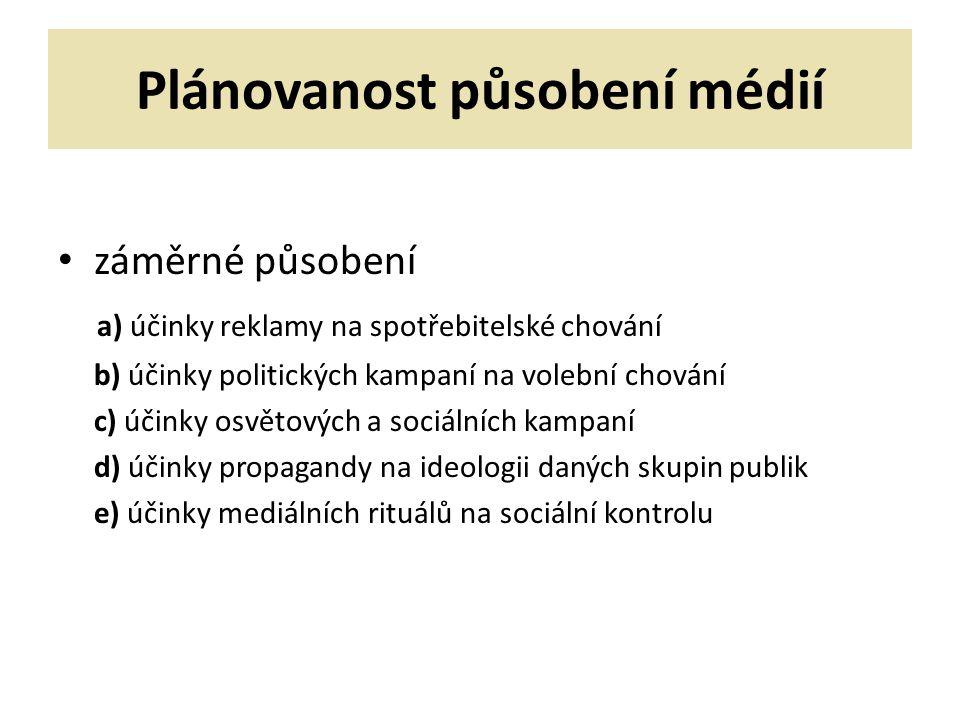Plánovanost působení médií