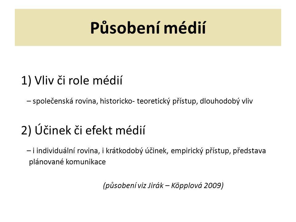 Působení médií 1) Vliv či role médií
