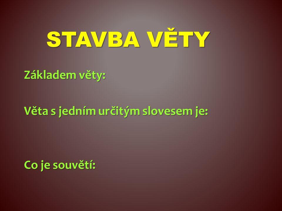STAVBA VĚTY věta jednoduchá určité sloveso Základem věty: