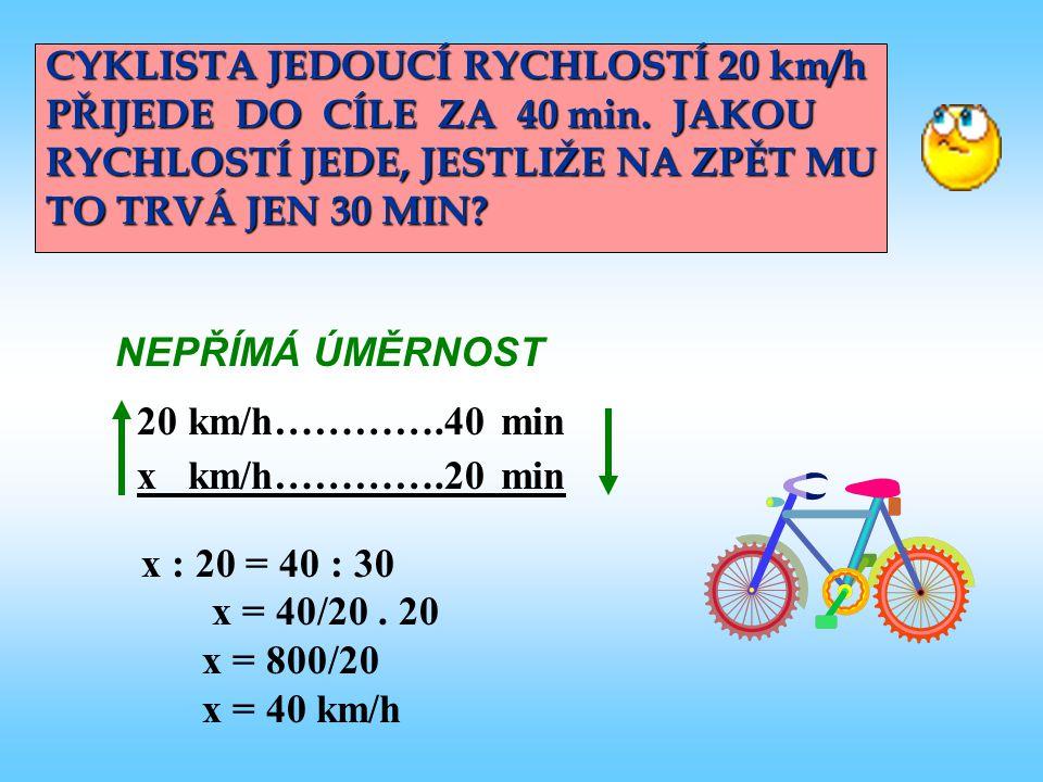 CYKLISTA JEDOUCÍ RYCHLOSTÍ 20 km/h PŘIJEDE DO CÍLE ZA 40 min