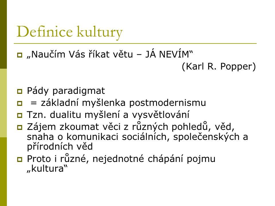 """Definice kultury """"Naučím Vás říkat větu – JÁ NEVÍM (Karl R. Popper)"""