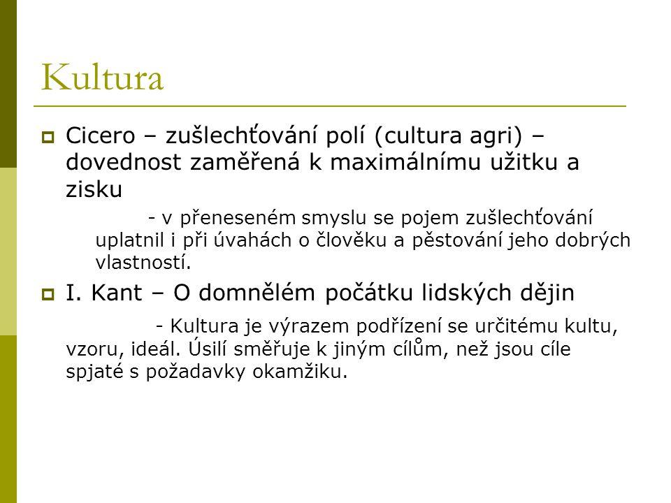 Kultura Cicero – zušlechťování polí (cultura agri) – dovednost zaměřená k maximálnímu užitku a zisku.