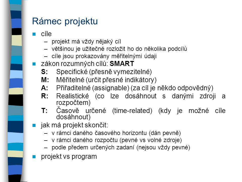 Rámec projektu cíle zákon rozumných cílů: SMART