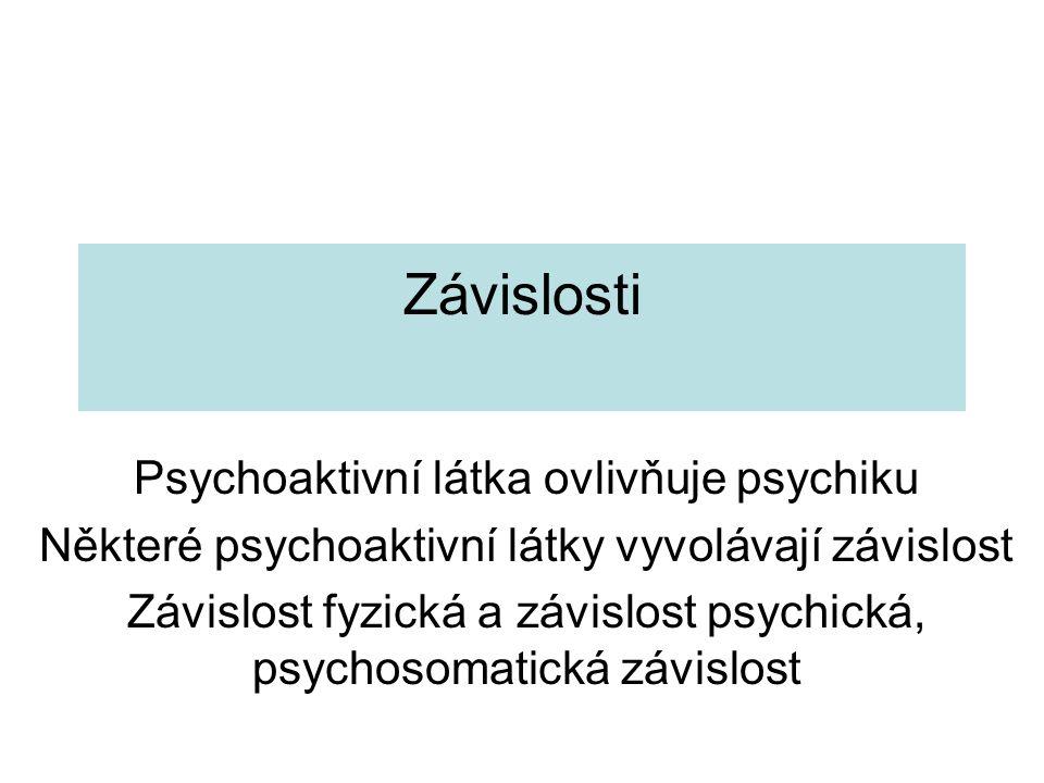 Závislosti Psychoaktivní látka ovlivňuje psychiku