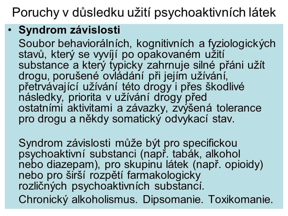 Poruchy v důsledku užití psychoaktivních látek