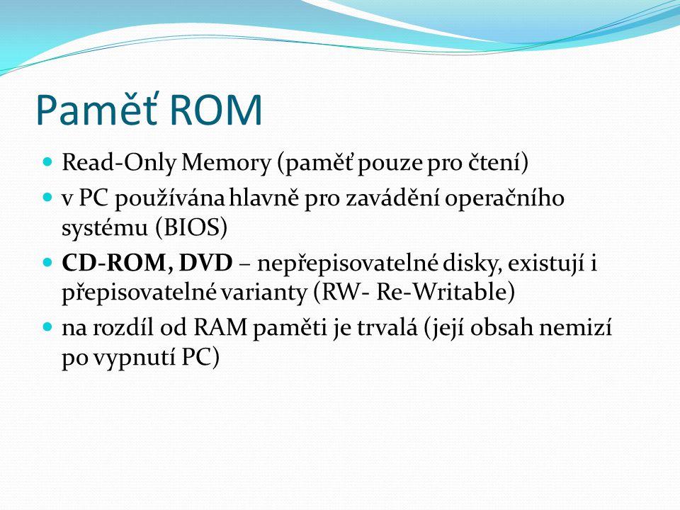 Paměť ROM Read-Only Memory (paměť pouze pro čtení)