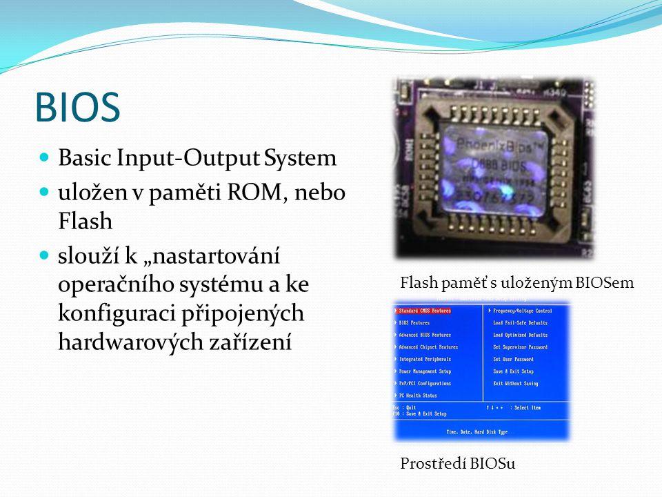BIOS Basic Input-Output System uložen v paměti ROM, nebo Flash