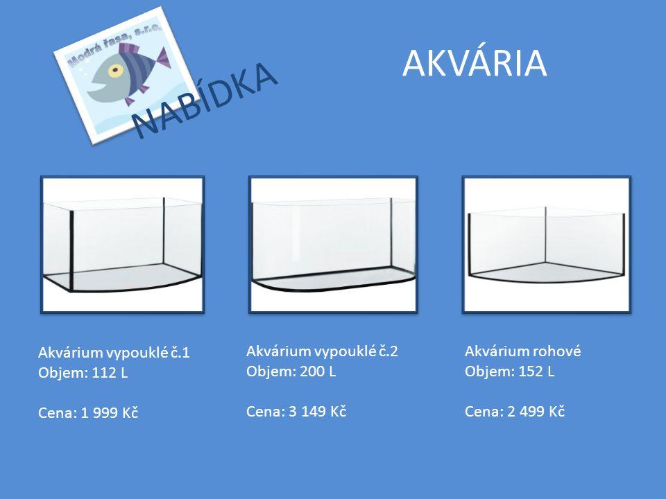 AKVÁRIA NABÍDKA Akvárium vypouklé č.1 Objem: 112 L Cena: 1 999 Kč