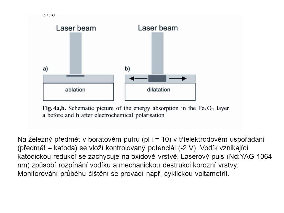 Na železný předmět v borátovém pufru (pH = 10) v tříelektrodovém uspořádání (předmět = katoda) se vloží kontrolovaný potenciál (-2 V). Vodík vznikající katodickou redukcí se zachycuje na oxidové vrstvě. Laserový puls (Nd:YAG 1064 nm) způsobí rozpínání vodíku a mechanickou destrukci korozní vrstvy.
