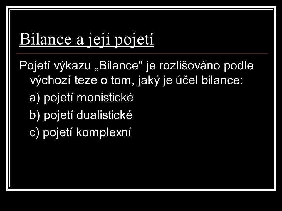 """Bilance a její pojetí Pojetí výkazu """"Bilance je rozlišováno podle výchozí teze o tom, jaký je účel bilance:"""