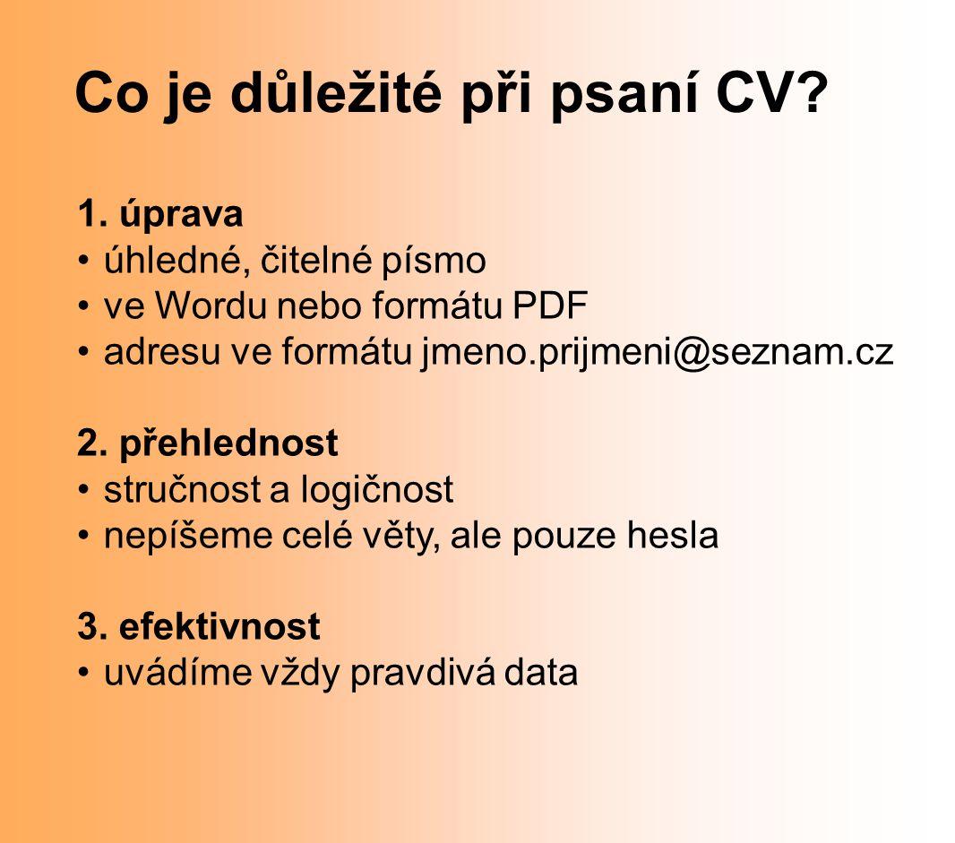 Co je důležité při psaní CV
