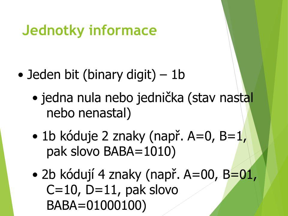 Jednotky informace Jeden bit (binary digit) – 1b